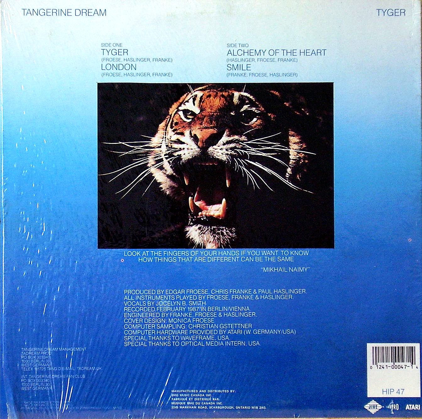 тыл-оригинал-TANGERINE DREAM-TYGER-1987