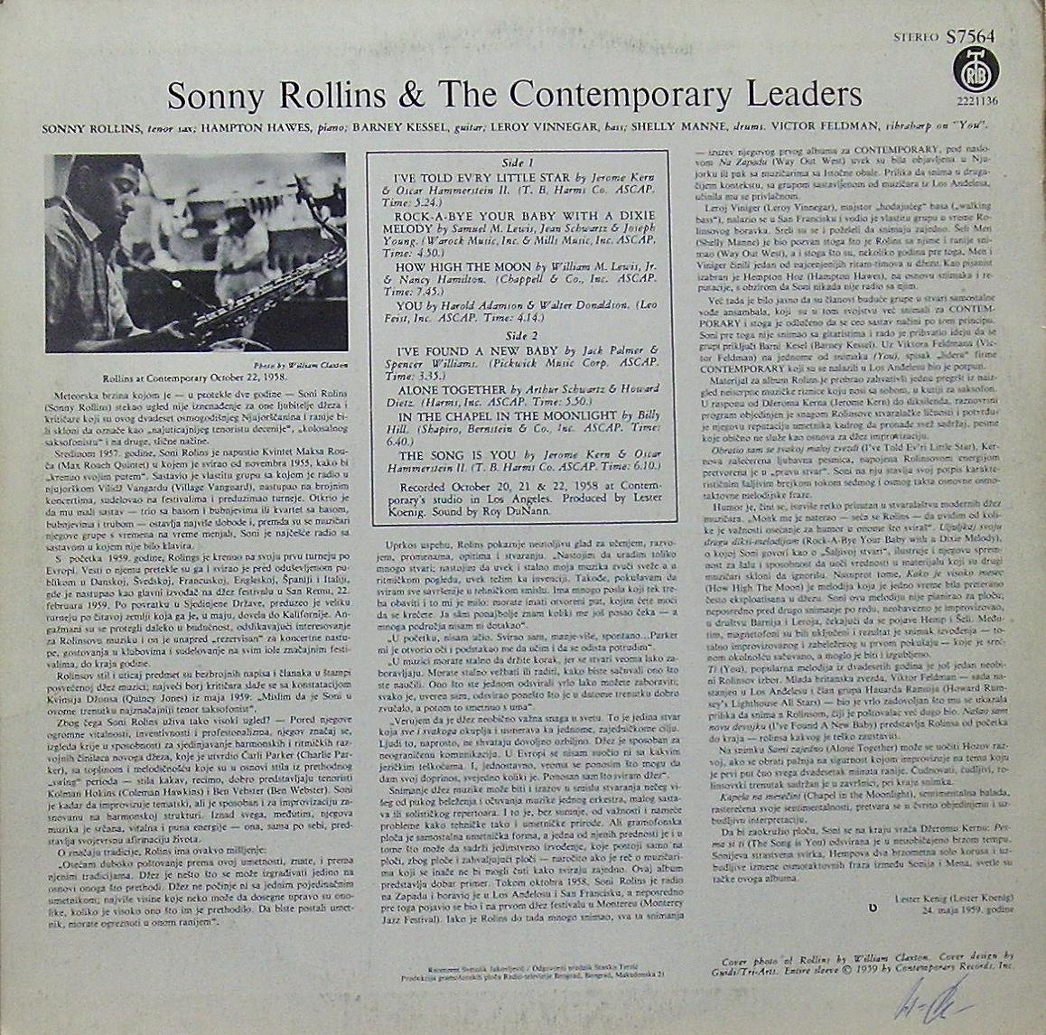 тыл-оригинал-SONNY ROLLINS-1959