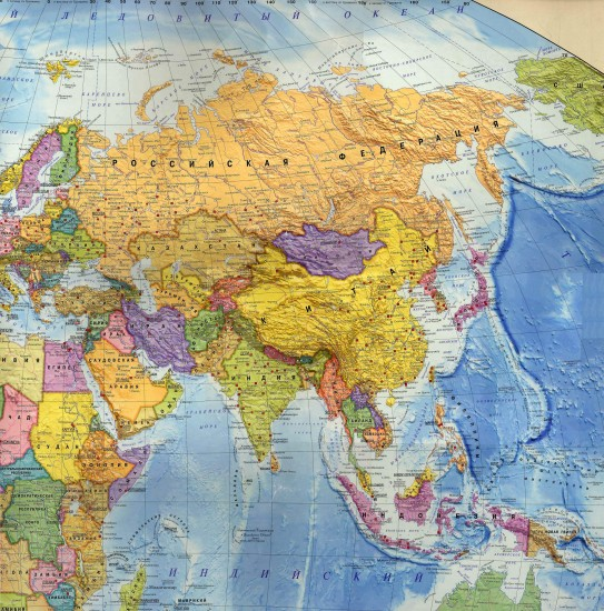 Политическая карта Азии.