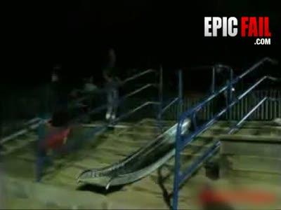 Падение в прыжке на ступеньках