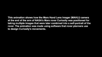 Работа манипуляторе при съемке автопортрета Curiosity
