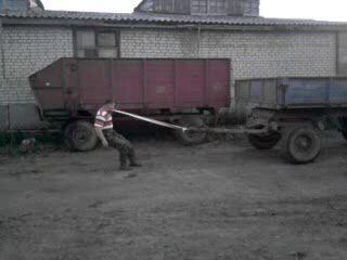 Богатырь Иван Иванов тянет телегу зубами
