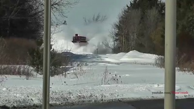 NEW 2014 Awesome Powerful Train plow through snow railway tracks Watch full HD
