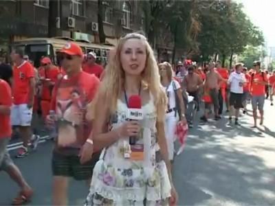 Голландцы и харьковский репортер. Holland fans & Ukrainian journalists