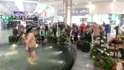 """два пьяных """"дельфина"""" в фонтане торгового центра"""