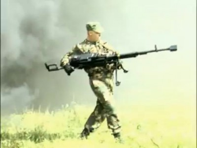 KORD 12,7 mm machine gun(Shooting a machine gun, standing)