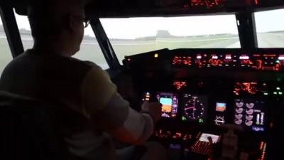 Взлет Боинга 737. Вид из кабины.