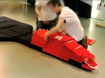 PUMA Pitcrew Builds Ferrari Car Out of Clothes