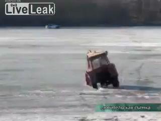 Пьяный тракторист ушел под лед