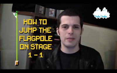 Jumping Over The Flagpole On Stage 1 in Super Mario Bros with Mike Matei (рус.озвуч)
