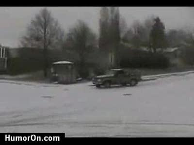 водилы на снегу