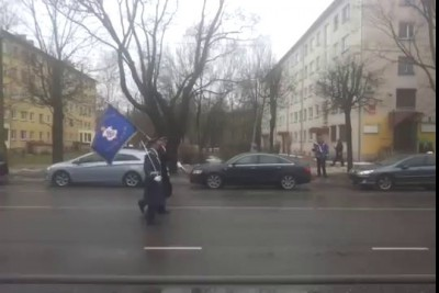 Estonia Narva - Military Parade - Man with the flag of Russia
