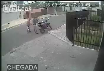 robber take a motorbike - gun in face