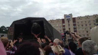 Выдача гуманитарки в Славянске после зачистки города