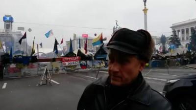 Украина, Киев. Майдановец-нацист, против людей!!!