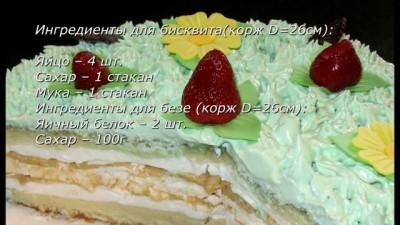 Торт домашний «Лесная поляна». Бисквит, безе, суфле и ягоды в одном торте.