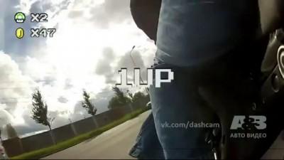 мотоциклист сбил радар