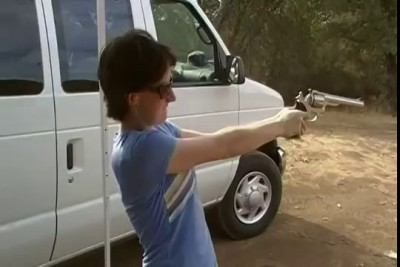 Skinny girl shoots 44 magnum one handed