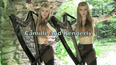 Skyrim / Morrowind Medley (Electric Harp Duet) Camille and Kennerly, Harp Twins
