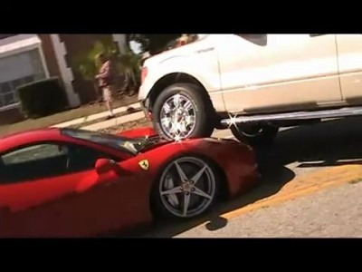 Ferrari 458 Italia crash run over by Ford  F 150 Truck PARKED ON ITS HOOD!!!