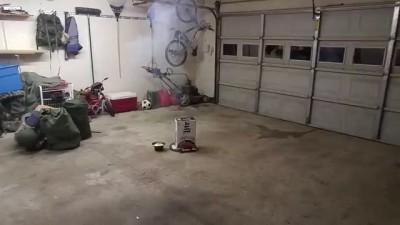 Firework Fail - Idiots light Mortar Shell in Garag