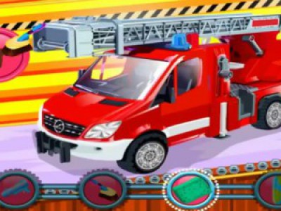 Пожарная машина на автомойке. Смотреть мультик про пожарную машину. Городская спецтехника для детей
