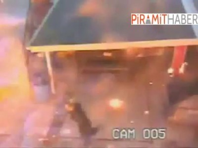 Patlamaya sigara içerken yakalanan kişinin kıyafeti böyle tutuştu