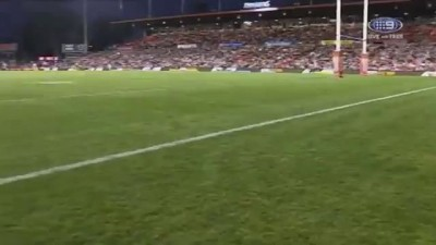 Watch: A black cat dash across the field during NRL match