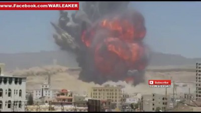 Houthi Rebel Scud Missile Depot Explodes After Saudi Airstrike In Yemen - Yemen War 2015