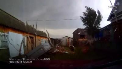Tornado in a village in the Republic of Bashkortostan (Russia)