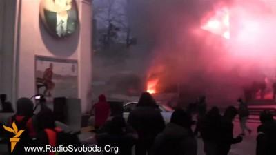 Беспорядки на улице Грушевского в Киеве.