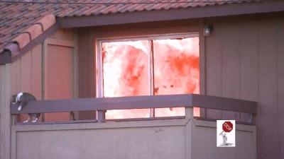 Кот на балконе горящего дома ...