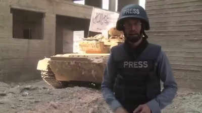 Al Jazeera Syrian Reporter Interrupted By Syrian Army Strike On Tank