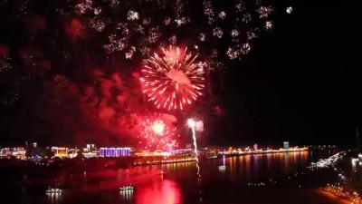 Российско-китайский фейерверк 9 мая в Благовещенске