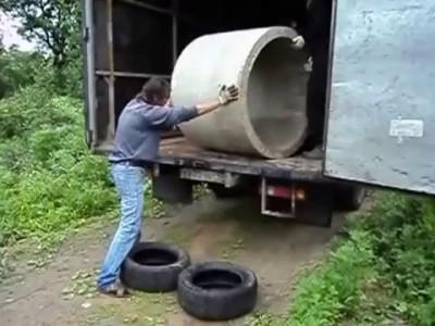 Как выгрузить бетонное кольцо .
