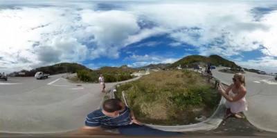 360°: Landing Plane Nearly Hits Tourist