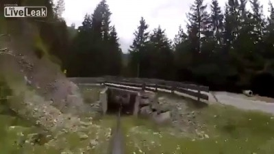 Exited Man in Alpine Coaster Stun a Girl by Crashing Into Her
