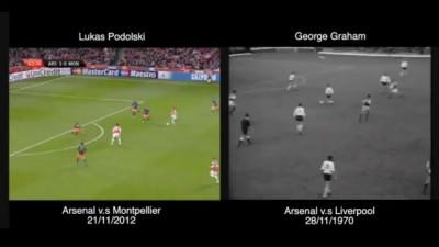 Lukas Podolski's Montpellier Goal v.s George Graham's Liverpool Goal