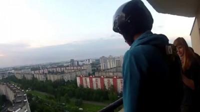 Crazy jump. Ropejumping 22 floor. Сумасшедший прыжок с веревкой.