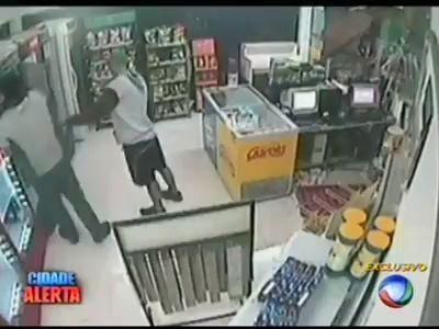 Вооруженный грабитель внезапно того, умер