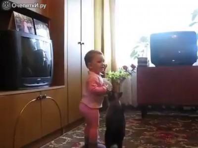 Кошка спасает котёнка от ребёнка