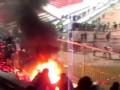 Волга - Зенит. Пожар на фанатском секторе Зенита.