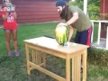 Man cuts watermelon with sword = FAIL