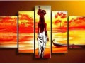 5-Pcs-Wall-Hunging-Oil-Painting-Canvas-Home-Decoration-Abstract-Impressionist-India-Women-Red-Orange