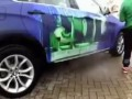 A car BMW X6 turns into the Hulk