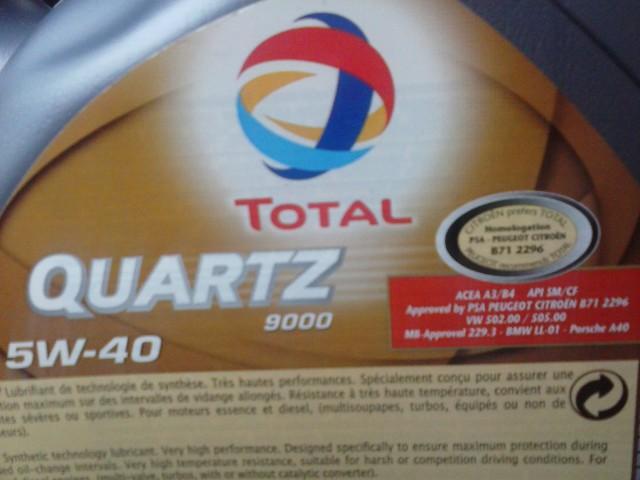 TOTAL 5W-40 Синтетика. Допуски
