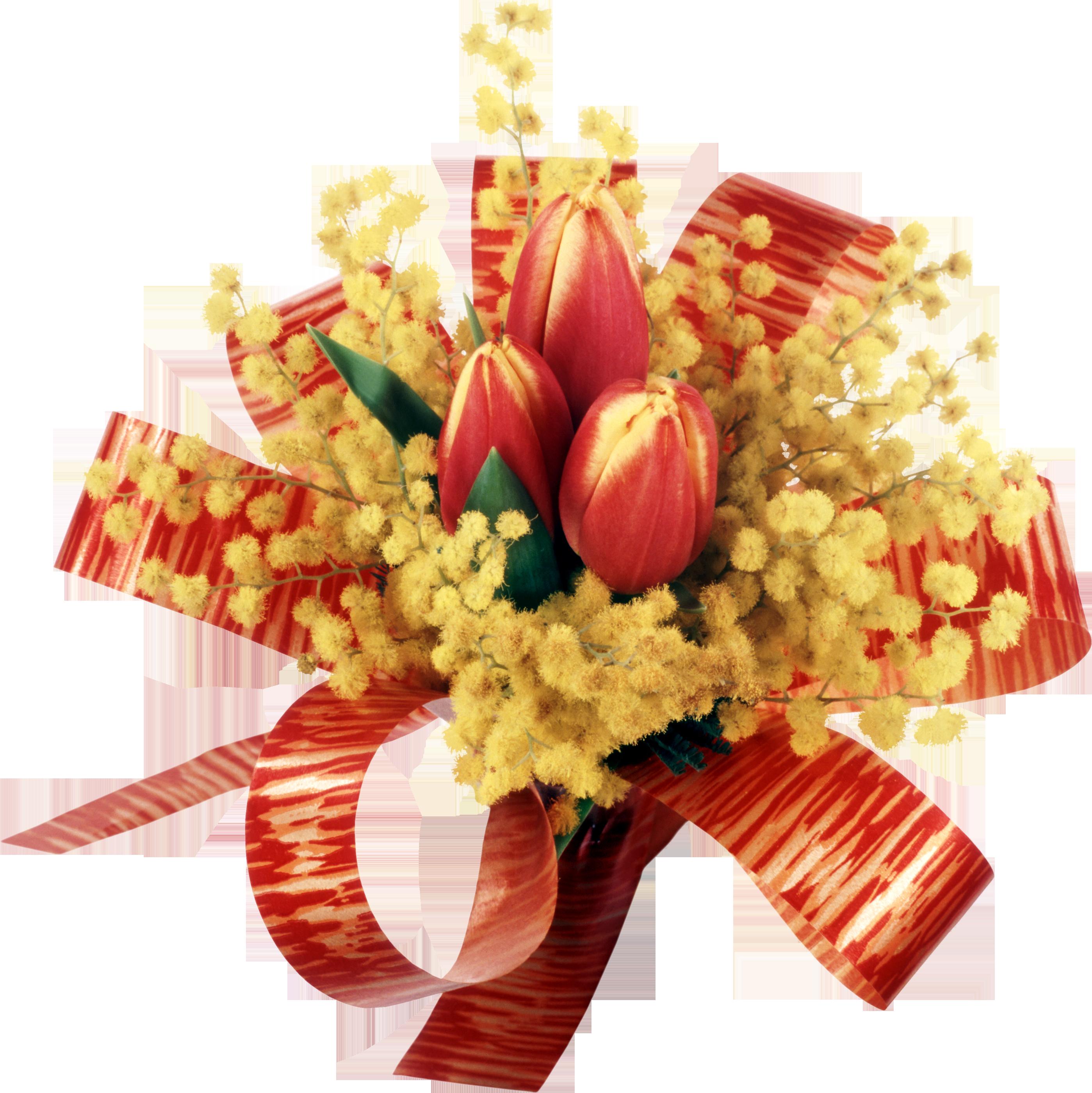Открытки на 8 марта с мимозами и тюльпанами, поздравление